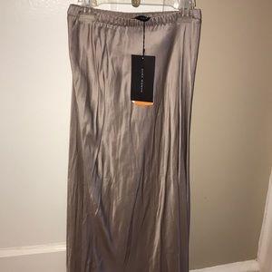 Zara silk blush colored high/low skirt